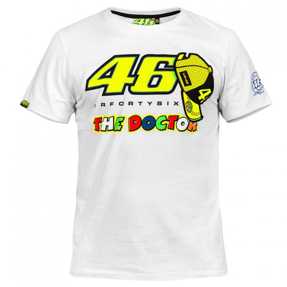 Hot Sales Motorcycle Racing Outdoor Riding Sport T shirt For Valentino Rossi VR46 46 The Doctor Moto GP Cotton T-shirt White Tee