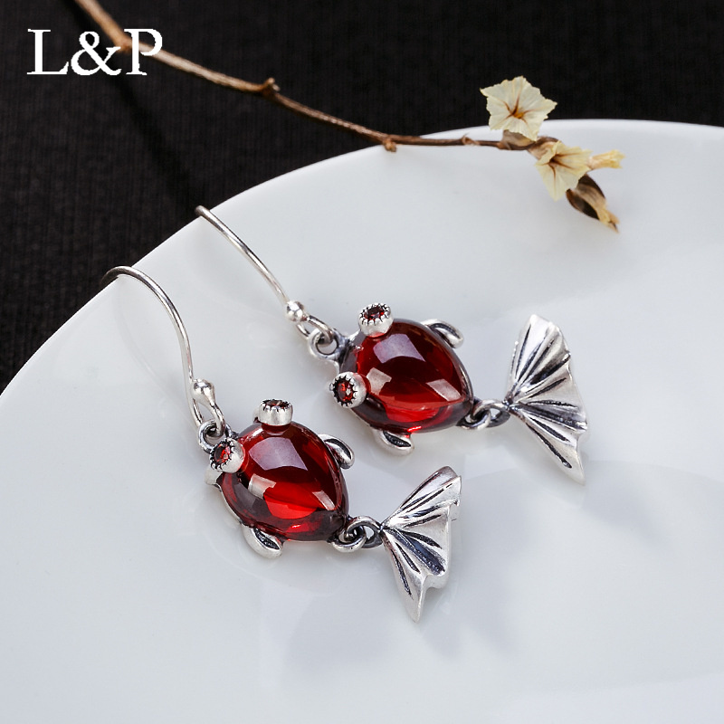 L&P Vintage Chalcedony Gemstone Drop Earrings For Lady Authentic 925 Sterling Silver Lovely Koi Earrings Fine Jewelry Wholesale