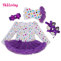 4 Pcs Toddler Baby Clothing Set Polka Dot Print Romper + Leggings + Shoes + Headband Infant Girls Tutu Dress with Purple Lace Yi