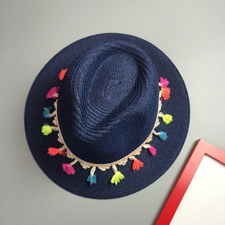 887aeea37025f 2016 New Korean Colour Tassels Straw Hat summer hats for women sun hat women  fashion hats travel Beach hat chapeu feminino