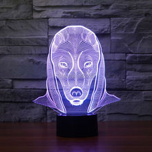 8pcs/lot 7 Color changing 3D Flashing Egyptian Pharaoh Acrylic LED Night Light with USB power multicolor table Lamp of LEDS