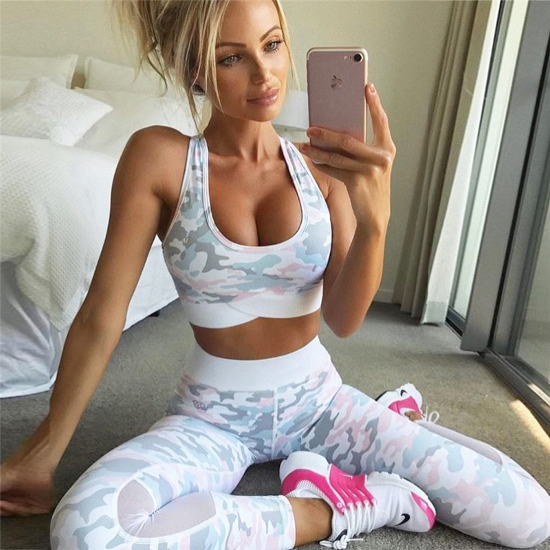 2018 camuflaje malla retazos deportivo Mujer Bodysuit Sexy mallas Fitness Stretch mujeres Leggings Crop Top chaleco conjunto