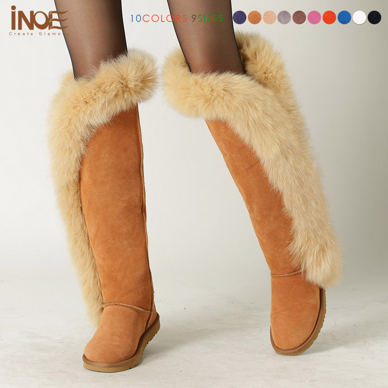 Fashion big fox fur women over the knee thigh winter snow boots real sheepskin leather long motorcycle boots high quality 2017 sexy thick bottom women s over the knee snow boots leather fashion ladies winter flats shoes woman thigh high long boots