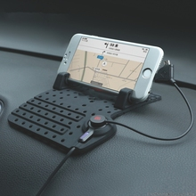 Magnetic Charging Cradle Dock Stand Anti slip Silicone Pad Car Phone Holder For iPhone font b