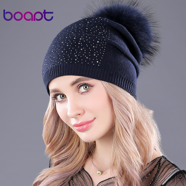 12852e439d3d9 US $10.91 48% OFF|[boapt] folds cashmere knitted thick warm hats for women  winter raccoon fur hat casual fluffy pompon female cap skullies beanies-in  ...