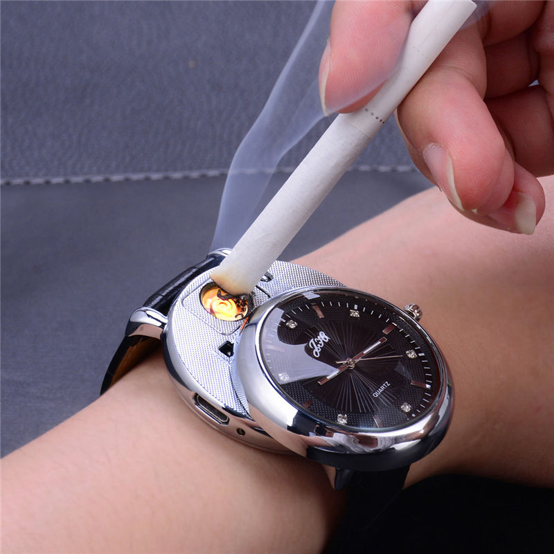 USB Lighter Watches Flameless Rechargeable Windproof Cigarette Lighter Relojes de hombre Men's Casual Quartz Wristwatches 5052
