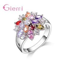 Sparkling 100% Solid S90 Silver Color Band Rings Colorful Flower AAA Cubic Zircon Stone Jewelry for Women Wedding Engagement(China)