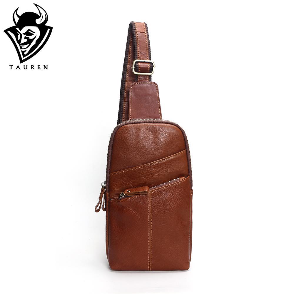 Men Messenger Leather Chest Pack Casual Men's Travel Shoulder Bag Chest Bag For Men Women Leather Messenger Waist Bag