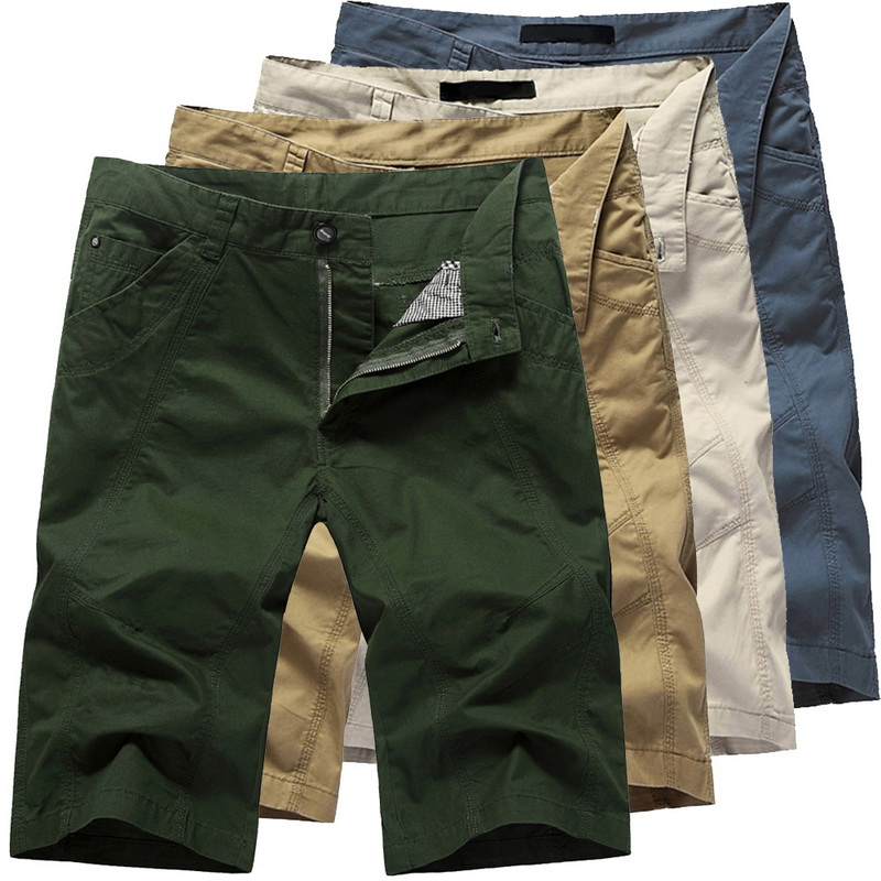 LASPERAL Summer Short For Men Mens Cargo Short Male Long Army Green Khaki Plus Size Mens Solid Slim Fit Casual Short Trousers