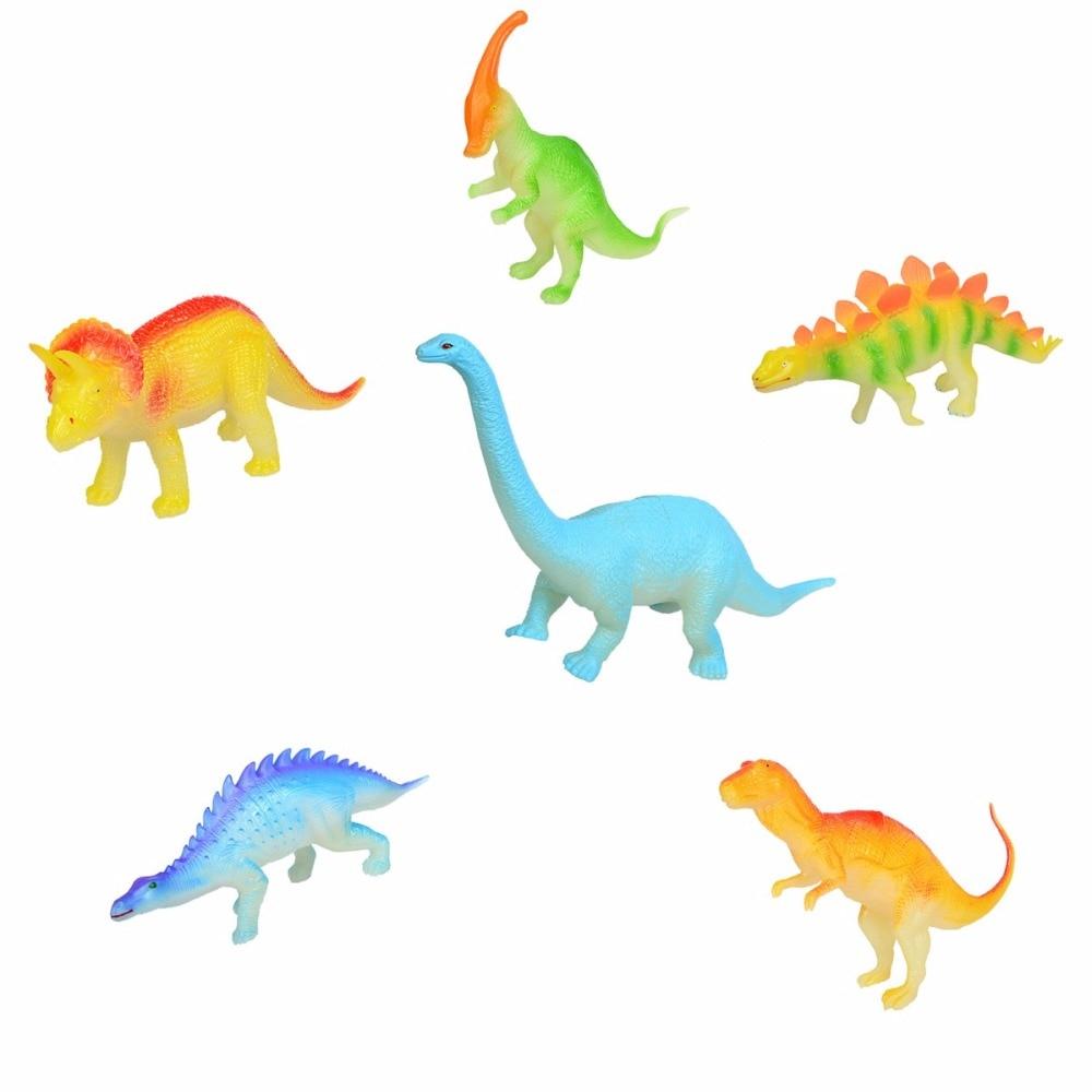Toys & Hobbies 6 pcs/set   Night Light Noctilucent Dinosaur Figure Gift Toy for Children Kids