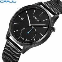 2019 nova crrju criativo aço inoxidável dos homens relógios marca superior de luxo esportes quartzo relógio pulso homem presente relogio masculino