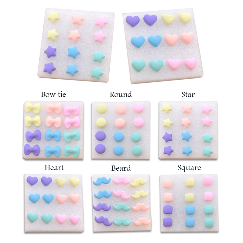 New  Hot Fashion Resin Stud Earrings Heart/Pinks Cheap Jewelry For Children Bijoux Colorful Popular Pattern Earrings Gift
