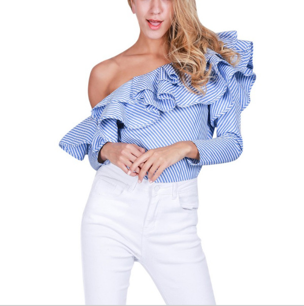 fa33a64c5c1c3a Women Off Shoulder Ruffle Blouse Blue White Striped Pinstripe Long Sleeve  Top 2017 New European Style Elegant Sexy Shirt