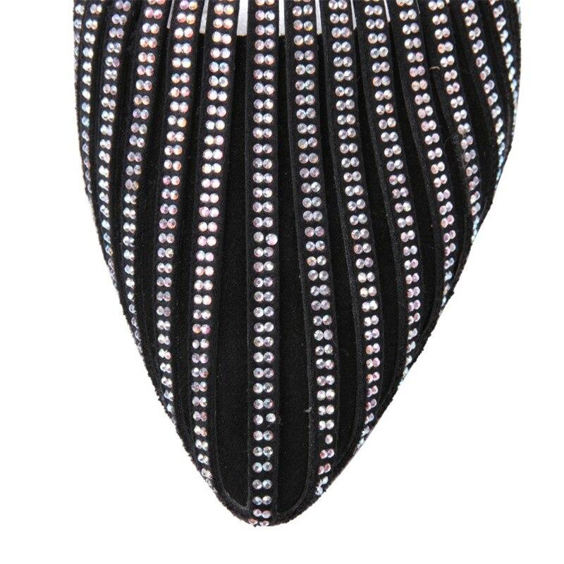 Spitz Strass Klar Aus Seltsame Sommer Echtem Frauen silver Ferse Leder Sandalen Neue Müßiggänger Marke Black Schuhe High Heels RqwZxZ