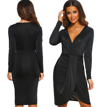 Fashion Black Dress V Neck Draped Sexy Long Sleeve Bodycon Bandage Dress Black Midi Dresses Vestidos недорого