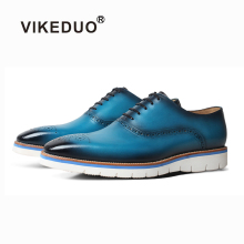 VIKEDUO Blue Brogue Sneakers For Men Summer New Leather Shoes Patina Casual Mans Footwear Wedding Driving Designer