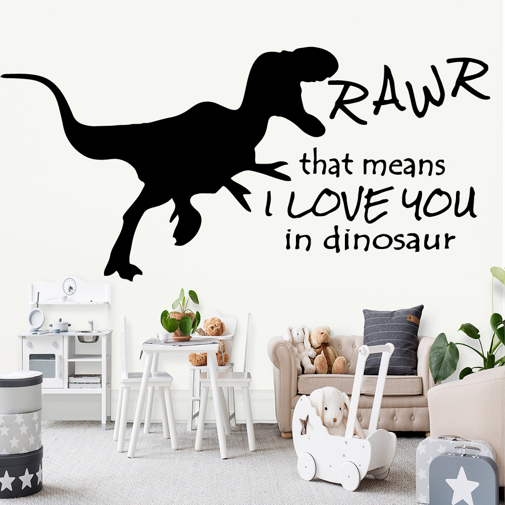 Exquisite Big Dinosaur Text Vinyl Wallpaper For Kids Room Wall Stickers Mural Decals Sticker decoration chambe