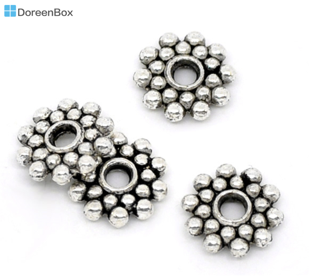 1000Pcs Silver Tone Tiny Flower Spacer Beads 4mm Dia.