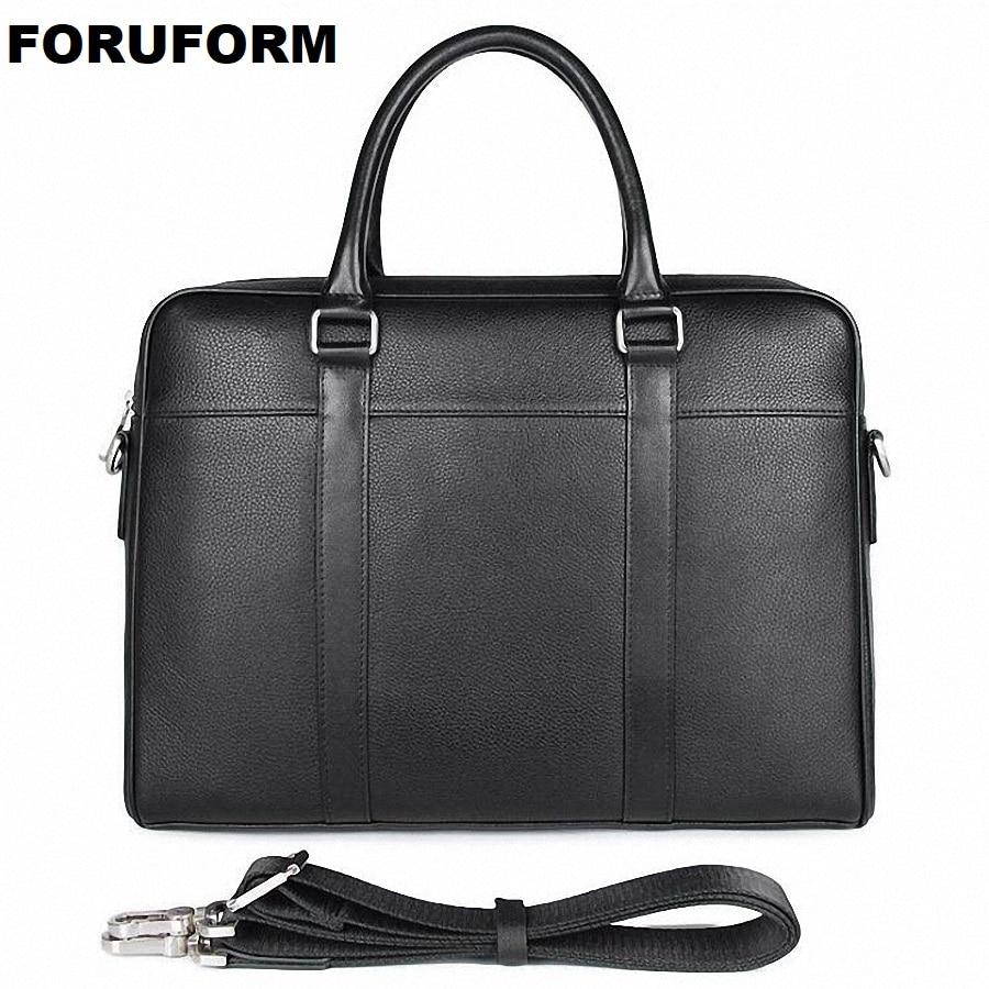 Genuine Leather Men's Handbag Fashion Slim 14 Inch Laptop Business Briefcase Bag Fashion Messenger Bags Man Shoulder Bag LI-2525