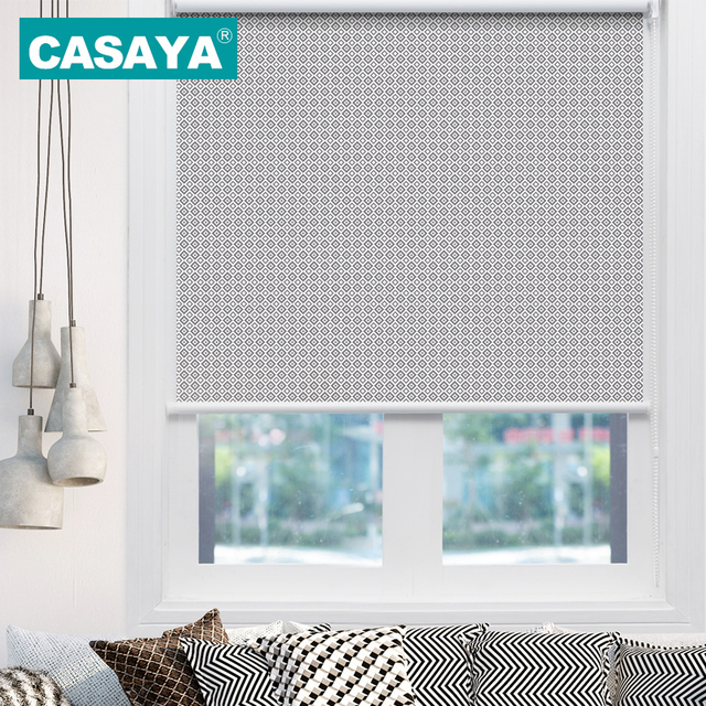 CASAYA Pastoral Style Roller Blinds Waterproof Geometric Pattern Painting Curtains Blackout Custom Size