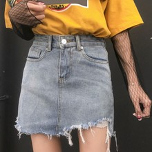 Summer High Waist Hole Denim Skirt Women Casual A-line Mini Skirt Streetwear Jeans Skirts Girl