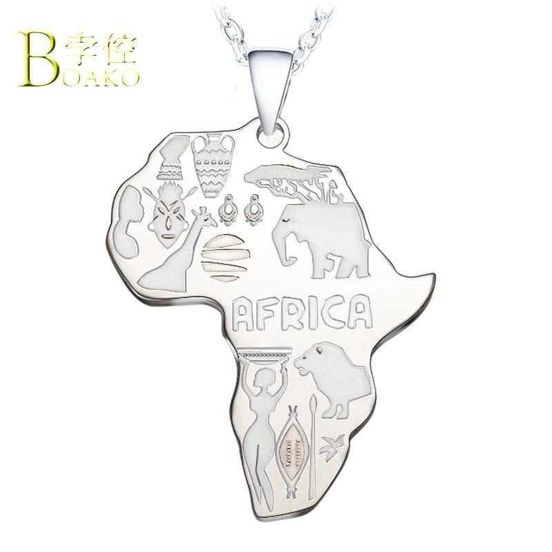 BOAKO Collana In Acciaio Inox per Le Donne/Degli Uomini Del Pendente Africa Mappa Della Collana Dichiarazione Catena D'oro Africano Dei Monili collier congo B5
