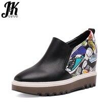 Comprobador de precios JK Cuero auténtico punta cuadrada ocultos cuñas mujeres Bombas graffiti único Tacones altos zapatos mujer deslizamiento casual en antideslizante zapatilla