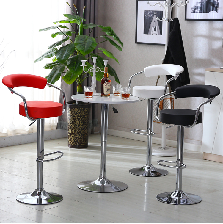 JEOBEST 2pcs/pair Adjustable Gas Lift Bar Stools Modern PU Leather Hollow Backrest Chair New Arrival HWC