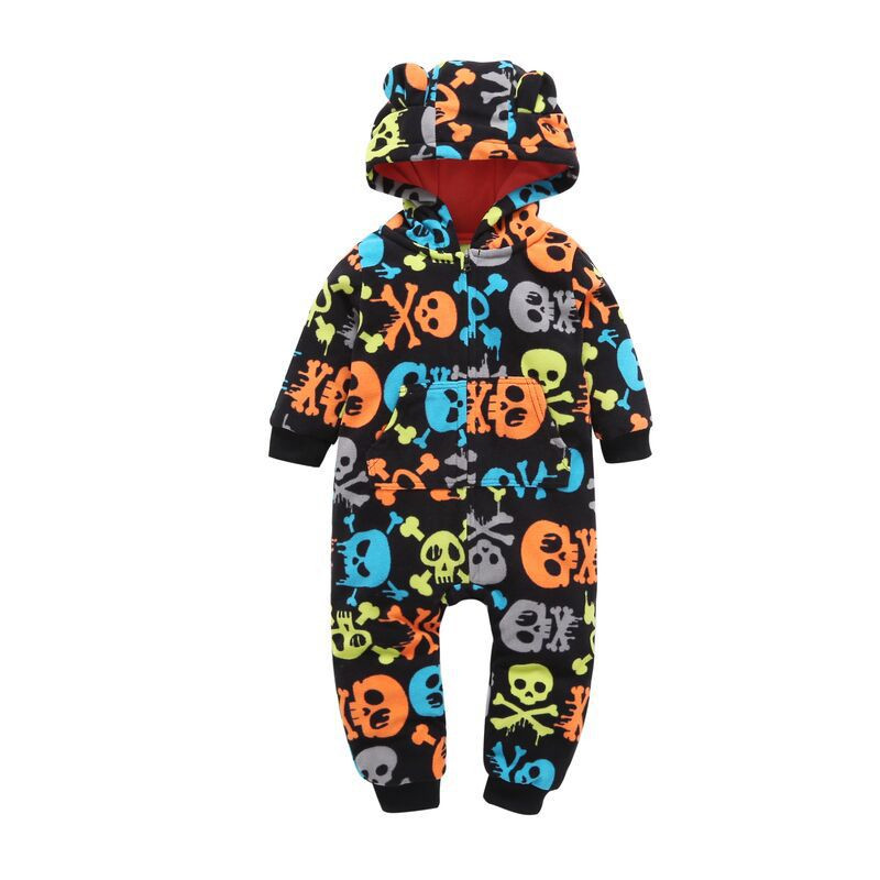 2017 Autumn New Thick Fleece Baby Romper Winter Warm Cartoon Jumpsuit Infant Baby Girl Clothes Toddler Hooded Baby Boy Clothing пуловер с капюшоном из оригинального трикотажа