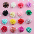 free shipping 12pcs 30mm 81-88 Resin Cameos rose flower Flatback Cabochon mixed colour  floating charm