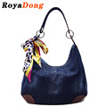Royadong mulheres saco denim bolsa de ombro com lenço 2016 das mulheres bolsas mensageiro sacos designer saco crossbody para as mulheres