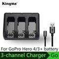 KingMa gopro hero4 3 + 3 Canales cargador para GoPro HERO4 AHDBT-401 para GoPro HD HERO3 + HERO3 AHDBT-201 AHDBT-301 AHDBT-302