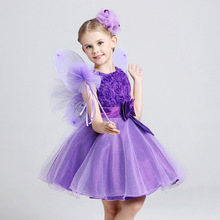 2016 New Style Children clothes girls beautiful Lace Dress Quality Baby Girls Dress Teenager Kids Dress Rose Design For age 2-10