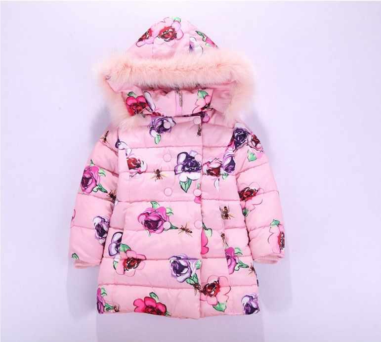 2018 冬の新ビッグバージンパッド入りのコートロングセクション厚い綿のジャケットの子供花柄暖かい生き抜く-30 度
