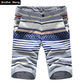 Men's Shorts Striped Plaid Printing Business Casual Shorts 100% Cotton Straight Male Slim Beach Shorts
