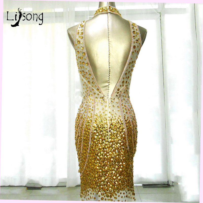Sexy Backless Gold Rhinestone Mermaid Prom Dresses 2018 Crystal Long Halter Prom  Gowns Aso Ebi Formal Party Dress Abendkleider-in Prom Dresses from Weddings  ... 0805598cc957