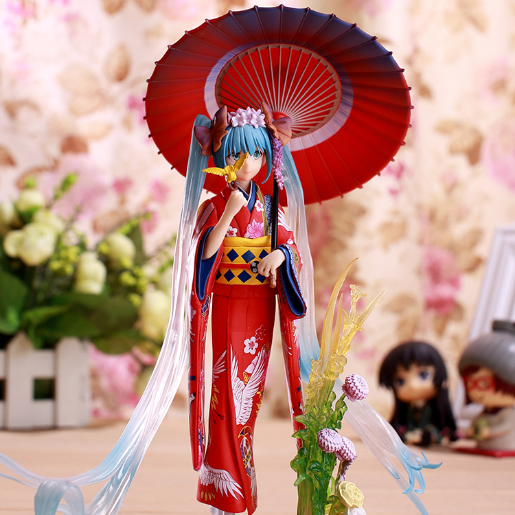 PLUS Edition Hatsune Miku Action Figures Stronger Vocaloid PVC 23cm Anime Miku Kimono Stronger Vocaloid Collectible Model Toys vocaloid cosplay hatsune miku q version boxed pvc small gk garage kit action figures model toys 4pcs set