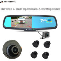 ANSHILONG 3 in 1 5 HD Car Interior Replacement Rear View Mirror Monitor DVR 1080P + Back up Camera + Parking Radar Sensors