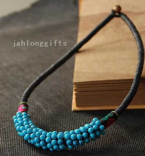 Wholesale China Chic Ethnic Miao Style Hand Knitted Blue Turquoise Stone Pendant Necklace Jewelry 12pcs Mixed Lot Free Shipping