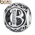 BAMOER Authentic 925 Sterling Silver Vintage Letter B Beads Charms Fit Bracelets & Necklace With Clear CZ PSC008-B