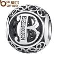 Bamoer authentic 925 sterling silver vintage letra b contas encantos fit pulseiras & colar com limpar cz psc008-b