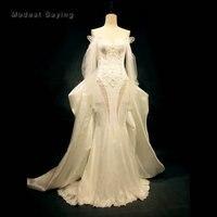 Alta Qualidade Real Da Sereia Frisada Lace Vestidos de Casamento 2018 Monarch Igreja Longo Mangas vestido de Noiva Custom Made vestido de noiva