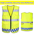 Security vest workwear High visibility safety  reflective clothing safety vest fluorescent yellow orange hi vis vest