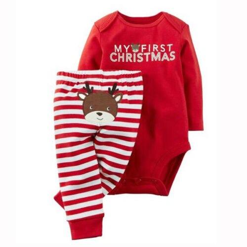 Hot Sale 2pct Christmas Santa Claus Newborn Baby Boys Girls Letter Christmas   Romper   Stripe Long Pants Clothes Outfits Set