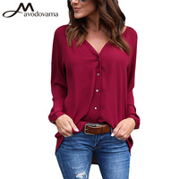 Avodovama M Ladies Loose Casual Blouse Long Sleeve ButtonV Neck Summer Female Chiffon Tops Plus Size