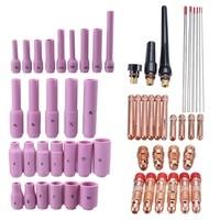 56PCS TIG Welding Torch Consumables Gas Lens Back Cap Argon Arc Welding Parts Kit for WP 17/18/26