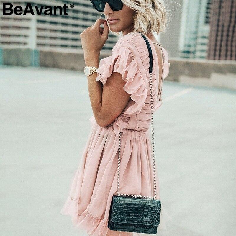 BeAvant гофрированное Плиссированное шифоновое женское летнее платье 2019 сексуальное с v образным вырезом свободное короткое платье со шнуровкой с высокой талией Мини платья женские