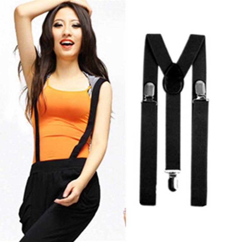 BD001--Fashion 32 Solid colors Unisex Suspender size L 3 Clip-on Men Braces Elastic Y- back Suspenders for women free shipping