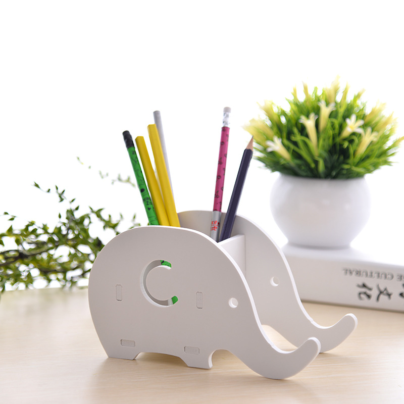 Office & School Supplies Desk Accessories & Organizer Creative Wooden Elephant Pencil Holder Cute Kawaii Whale Pen Stands Mobile Phone Holder Desk Organizer Office School Supplies Vivid And Great In Style