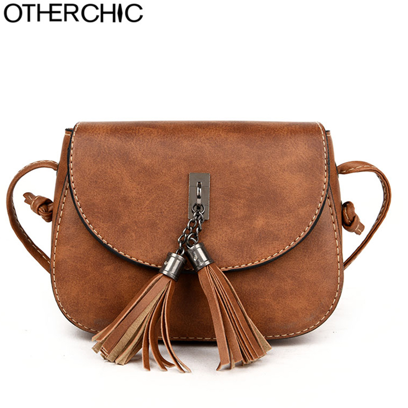 OTHERCHIC Hot Crossbody Bag For Women Casual Soft Cover Messenger Bags Solid Saddle Tassel High Quality Famous Design L-7N07-44